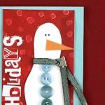 Коледна картичка със снежен човек