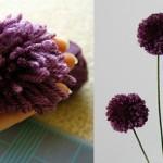 Помпон цвете от прежда