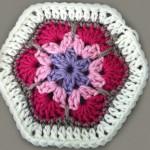 Африканско плетено цвете на една кука
