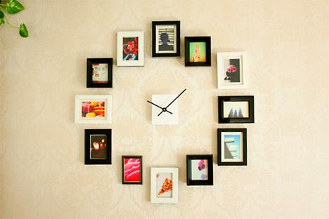 framed-photos-wall-clock