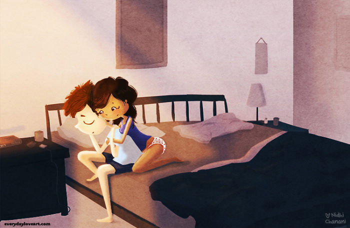 Illustration of couple cuddling in bed