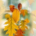 Украса на прозорец с есенни листа