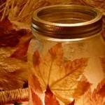 Есенен свещник от буркани листа