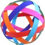 Коледна топка от хартиени ленти